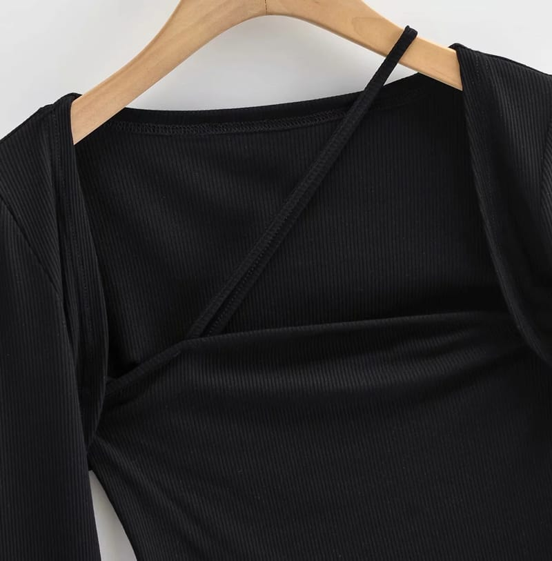 Women Black Long Sleeved top Square Neck Crop Tee with Asymmetrical Strap detail