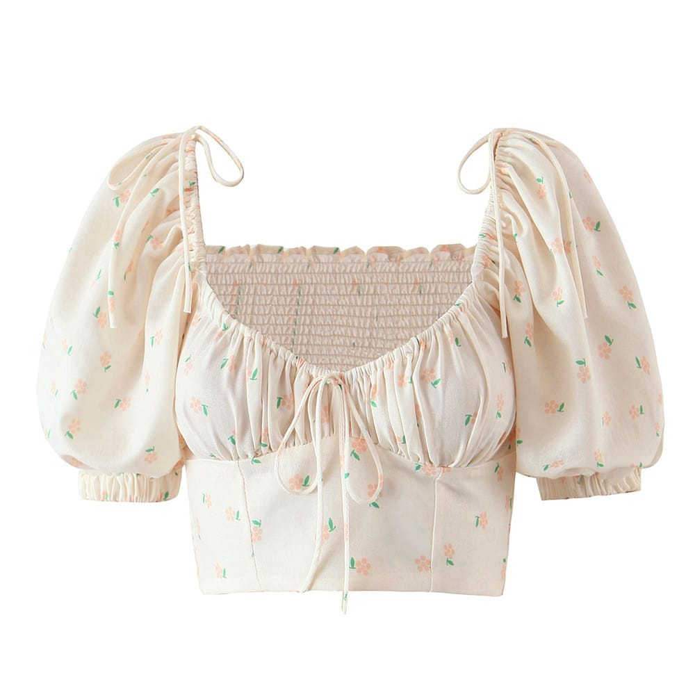 Women Vintage Beige top Floral Print Short Sleeve Blouse with Square Collar and Elastic Ruched back