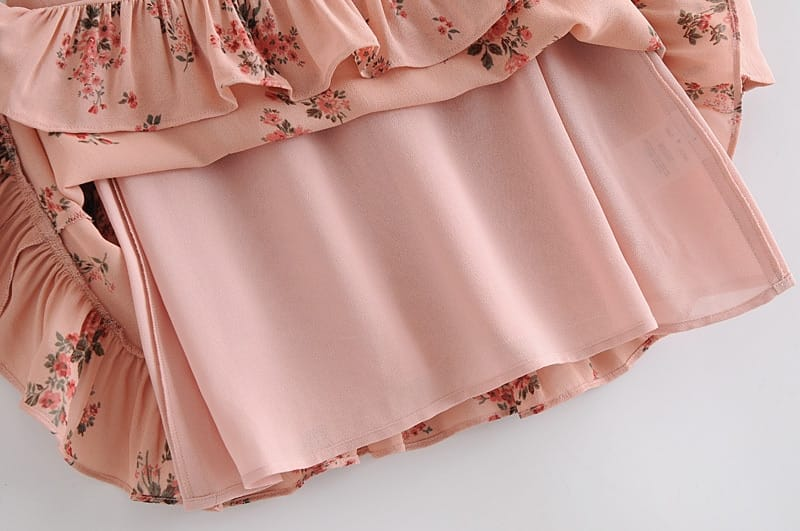 Pink Floral Vintage Long Sleeve Mini Dress with Tie O Neck and Ruffle Edge detail