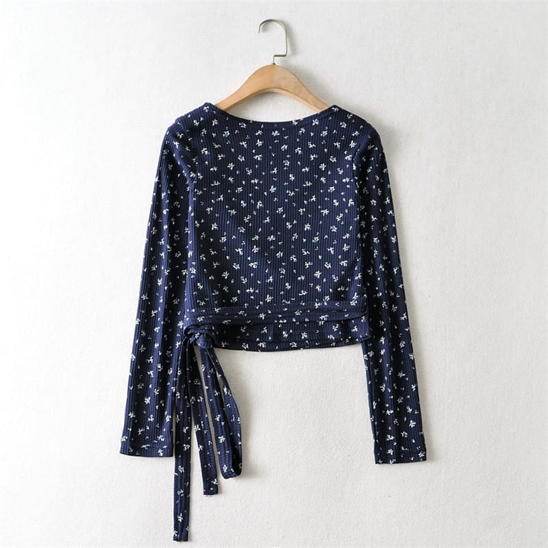 Women White Wrap front Blue Floral Print Long Sleeved Blouse Waffle Crop top with Tie Hem