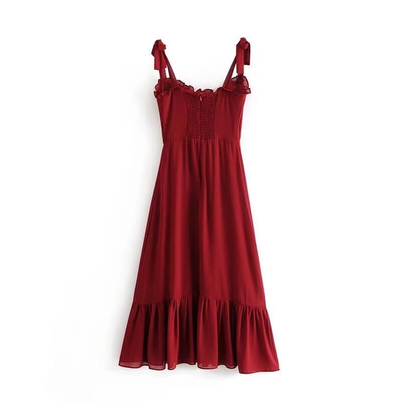 Vintage Plain Red Tie Cami Strap Midi Dress A-line Cut with Ruffle Decor