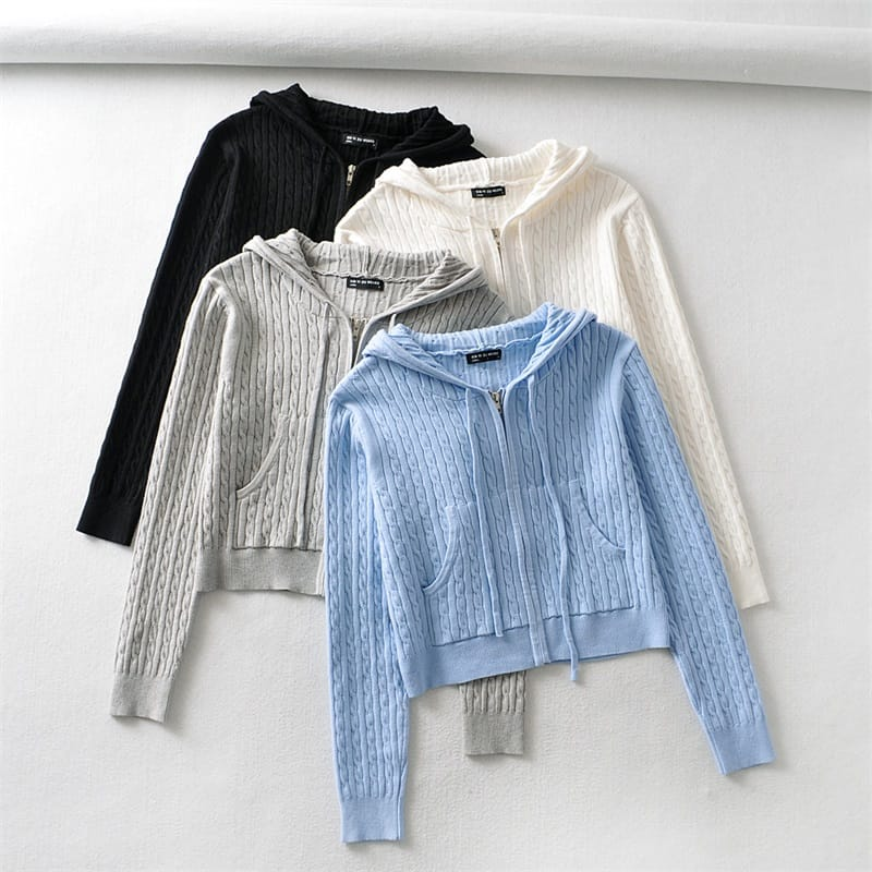 Women Blue Zipped Cropped Hoodie Knit Cardigan with front and side Pockets