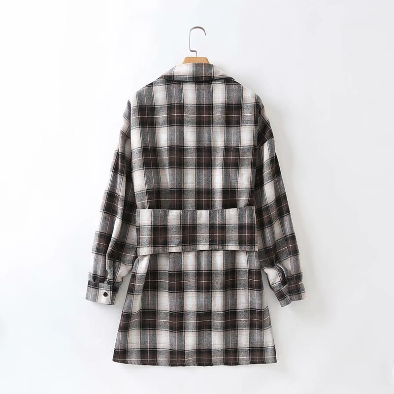 Women Mini Blue Plaid Check Buttoned Long Sleeve Shirt Dress with Corset Style Belted Waist