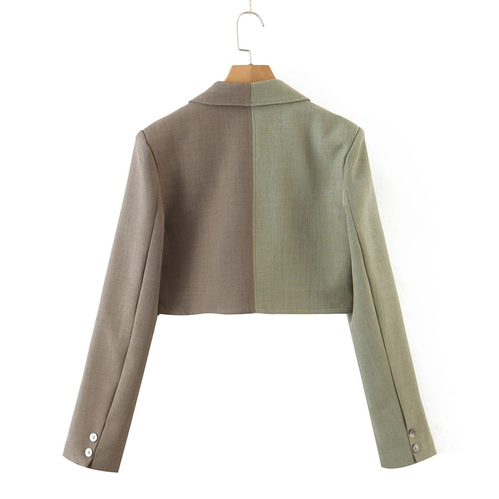Women Green and Gray Colorblock Notched Collar Long Sleeve Cropped Blazer Coat Double Buttoned