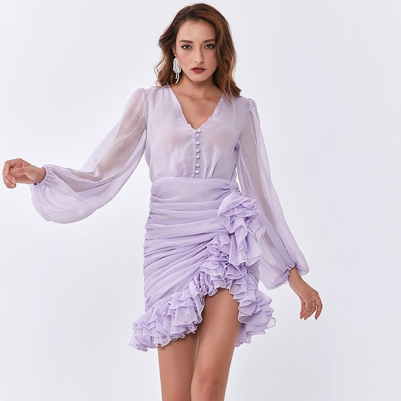 Women Lilac Light Purple Mini Dress with Sheer Bishop Long Sleeve and Ruched Asymmetrical Ruffle