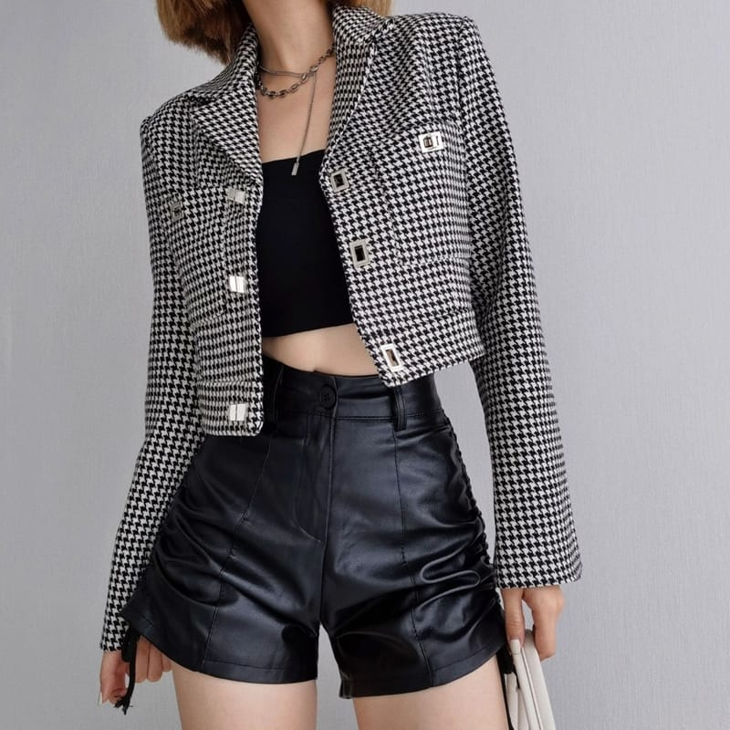 Women Houndstooth Black and White Cropped Suit Blazer