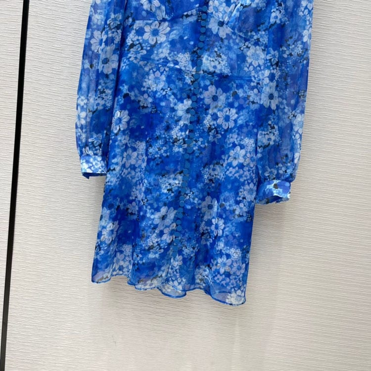 Women Blue Floral A-line Single Breasted Mini Dress with Long Lantern Sleeve