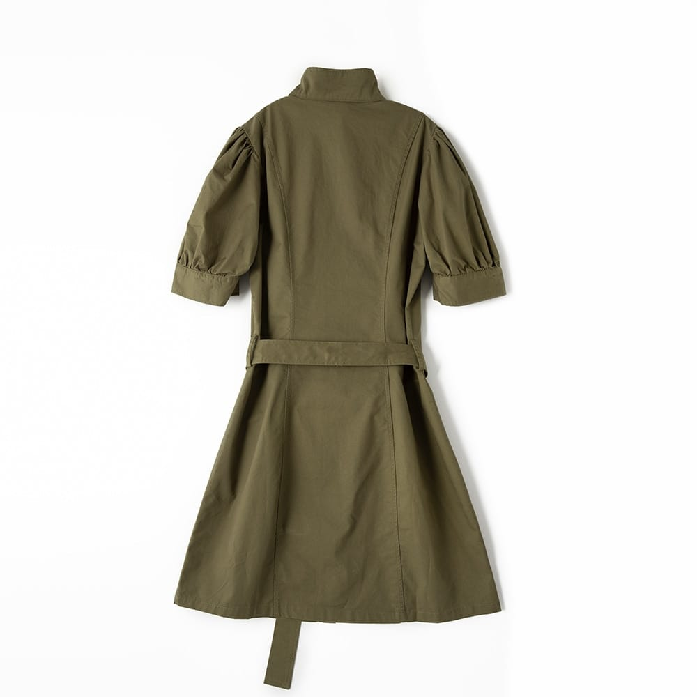 Women Army Green Buttoned Short Puff Sleeve Mini Dress with Stand-up Collar front Pockets and Tie