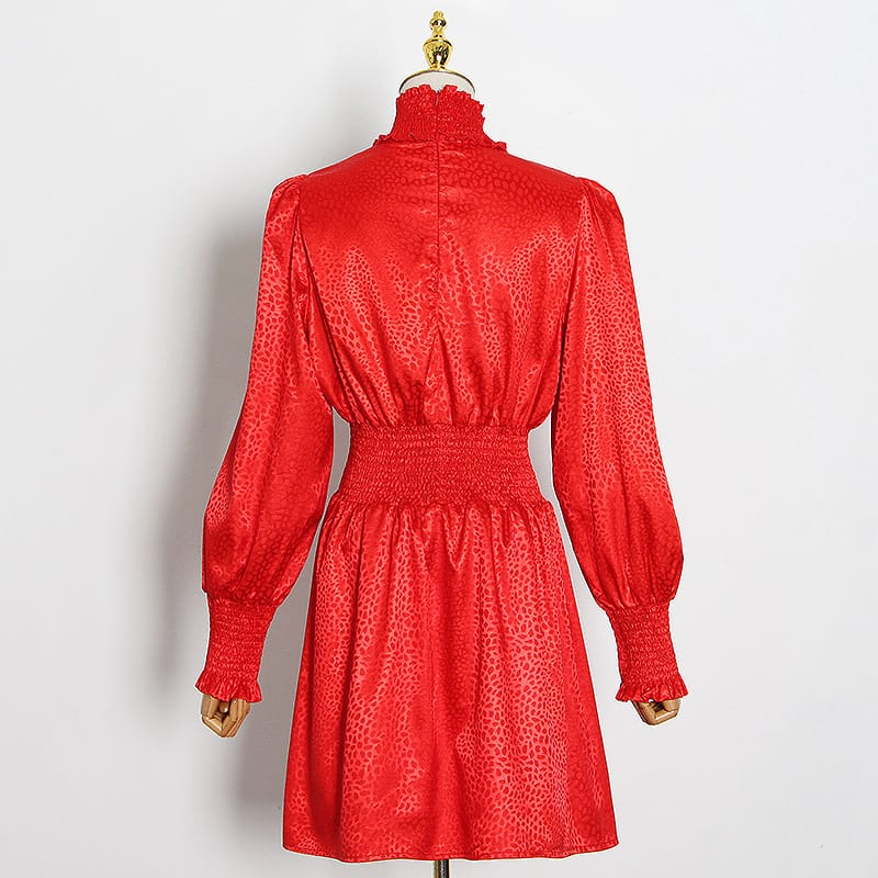 Red Long Lantern Sleeve Leopard Turtle Neck A-line Satin Mini Dress