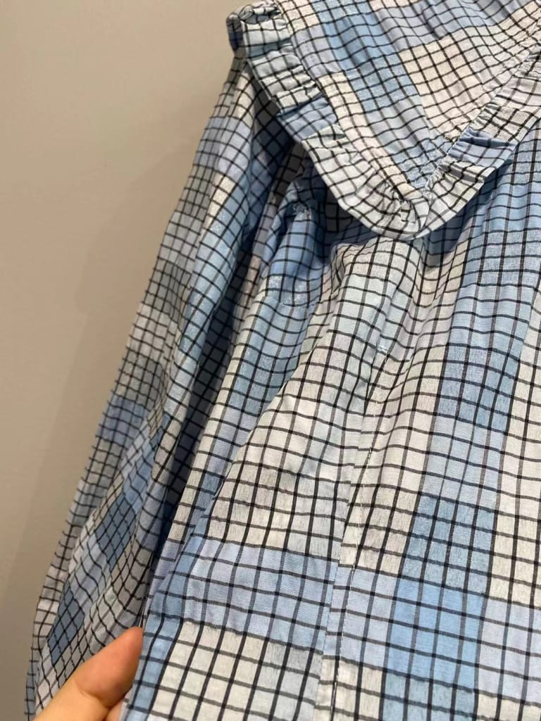 Women Blue Plaid Mini Dress with Peter Pan Collar and Puff Short Sleeve detail