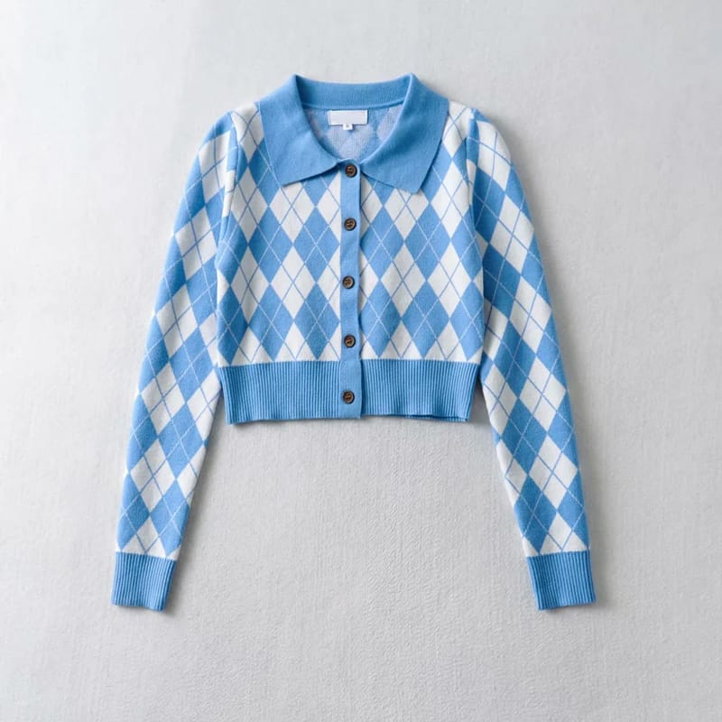 Blue Women Collared Fitted Crop Cardigan Knitted Argyle