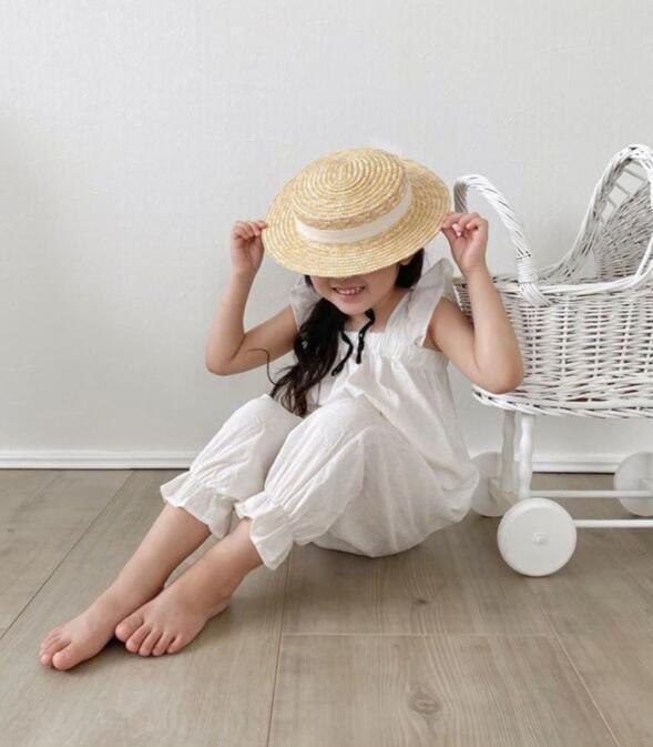 White Summer Girls Cotton Casual One-piece Jumpsuit with Flying Sleeve and front Pocket detail Kids