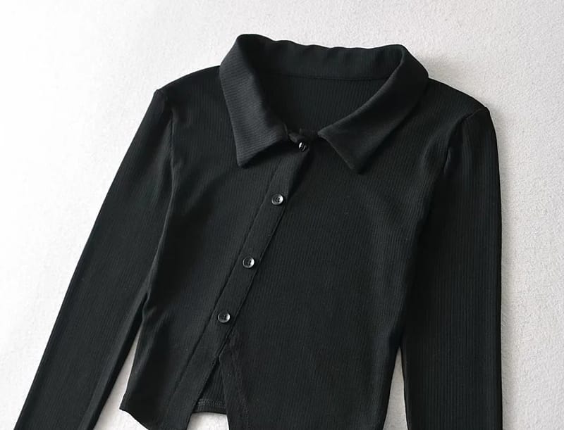 Women Black Buttoned Asymmetric Collared Ribbed Cardigan top
