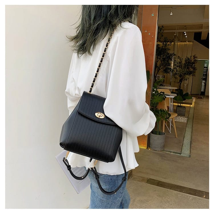 Women Pu Leather Chain Shoulder Bag Fashion Backpack