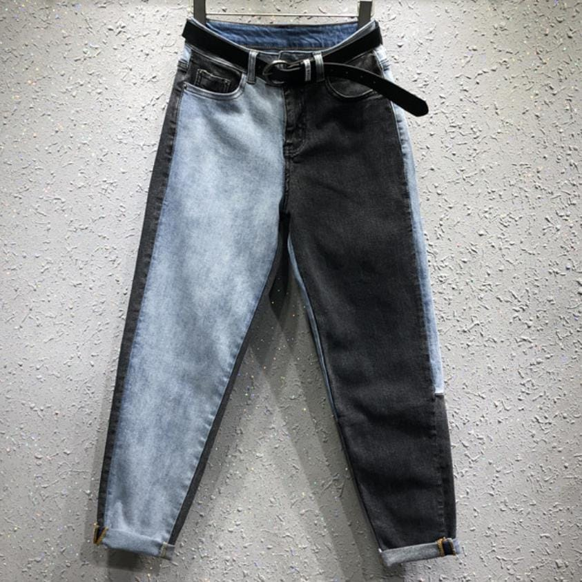Women High Waist Straight Leg Two Tone Black and Washed Blue Denim Jeans