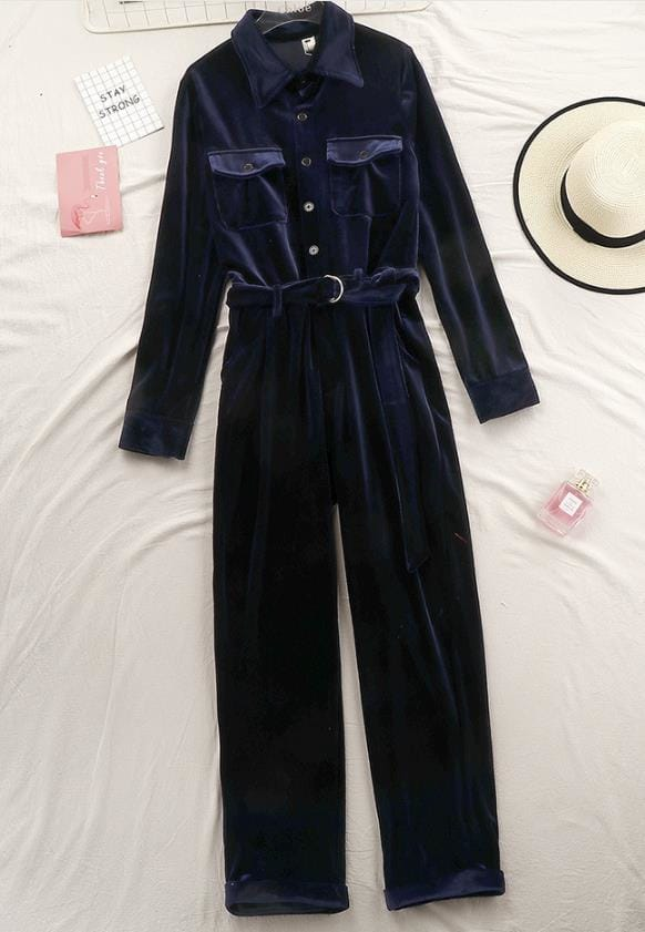 Women Blue Velvet Bodycon Long Sleeve Jumpsuit with front Pockets and Buttons Belt detail