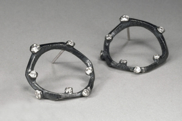 Branchy Large Circle Earring in Silver