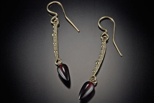 Bumpy Twig Drop Earring with Stone