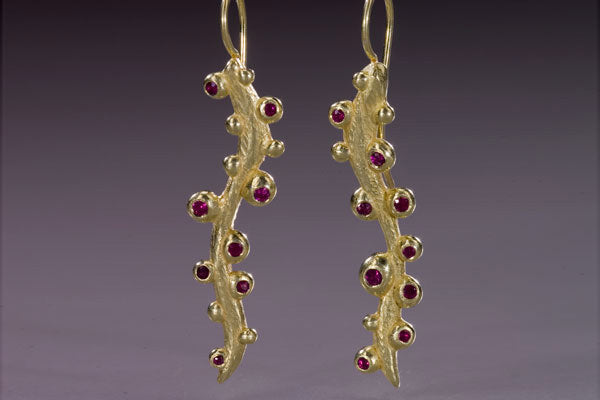Seaweed Long Earring with Rubies