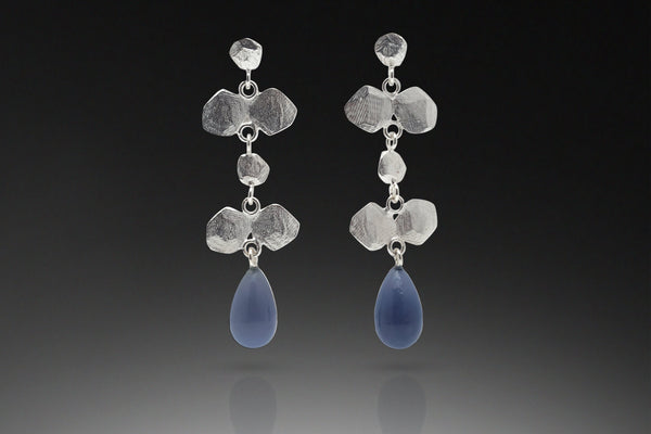 Six Facet Drop Earring with Stone