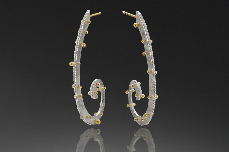 Long Horn Dig Earring with 18K Studs