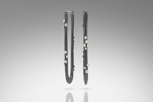 Facet Cluster Long Hoop Earring