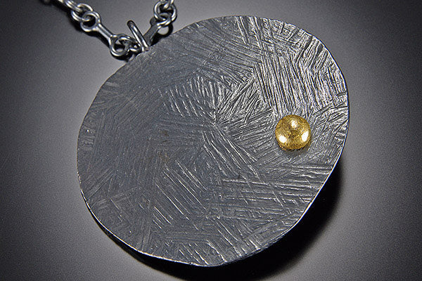 Off Round Large Shield Pendant with 22K Gold Ball