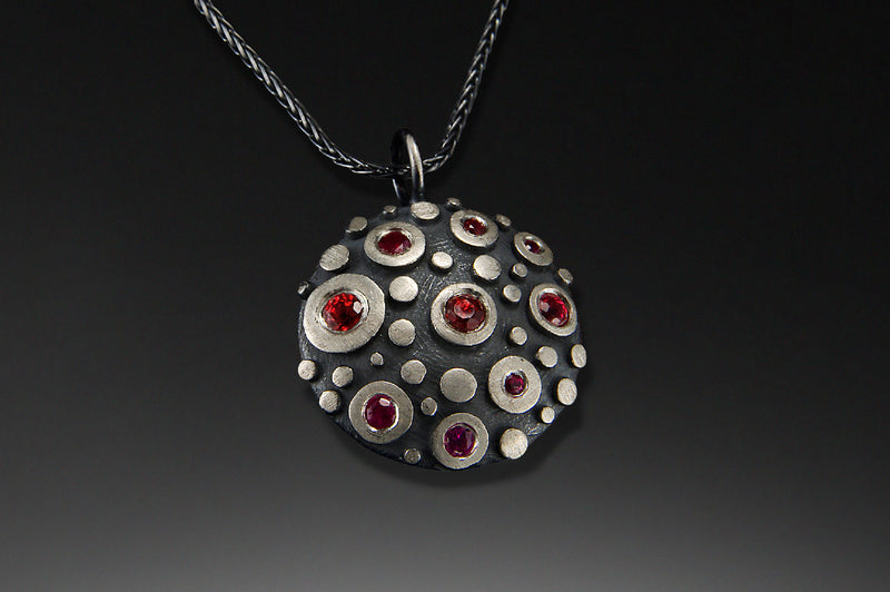 Disco Small Shield Pendant with Stones