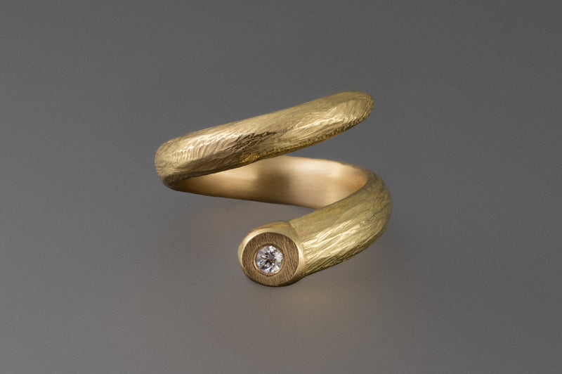 Spiral Sprig Ring with Diamond