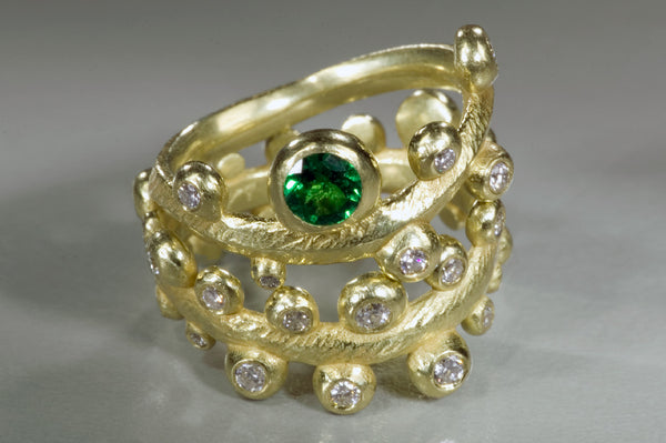 Seaweed Ring with Tsavorite And Diamonds