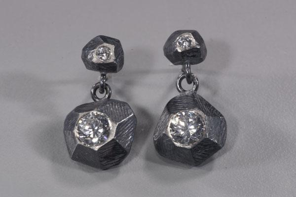 Rock Double Drop Earring with Cz
