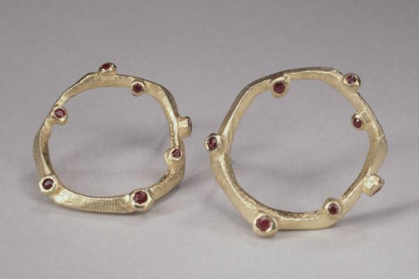 Branchy Large Circle Earring with diamonds