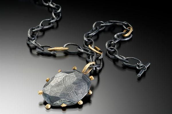Large Rock with Faceted Chain Necklace