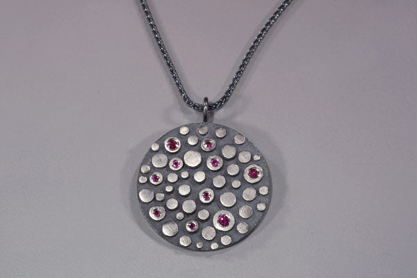 Disco Shield Pendant with Rubies