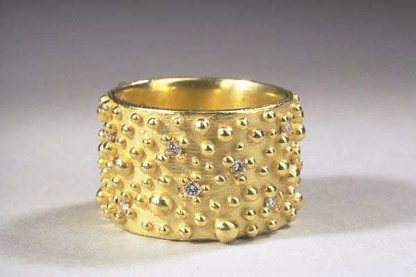 Bumpy Wide Ring with Diamonds