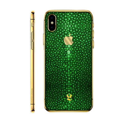 24k Gold Green Stingray Skin iPhone Xs and Xs Max