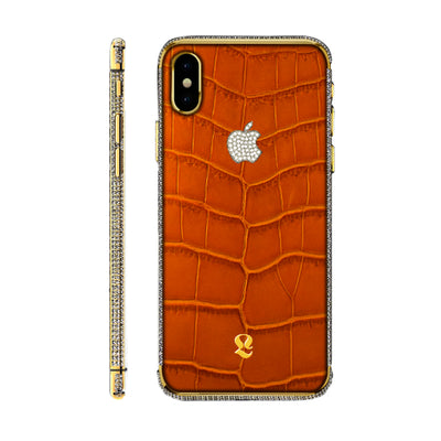 24k Gold Brilliance  Exotic Cognac Crocodile Skin  iPhone Xs and Xs Max