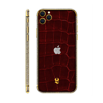 24k Gold Brilliance Exotic Red Crocodile Skin  iPhone 11 Pro and iPhone 11 Pro Max