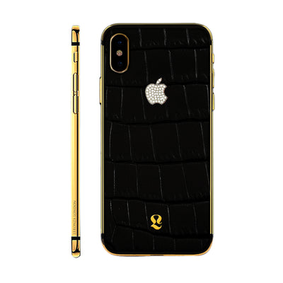 24k Gold Exotic Black Crocodile Skin with Swarovski iPhone Xs and Xs Max