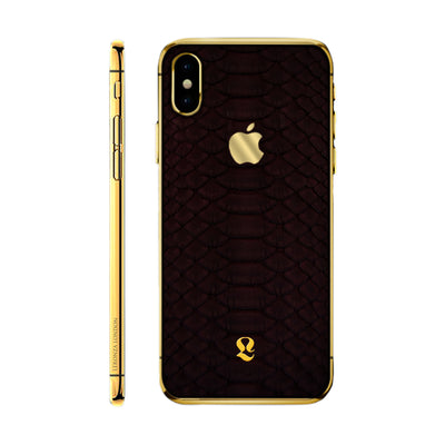 24k Gold Exotic Burgundy Python Skin  iPhone Xs and Xs Max