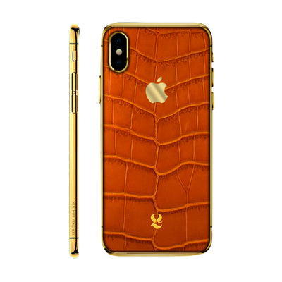 24k Gold Exotic Cognac Crocodile Skin  iPhone Xs and Xs Max