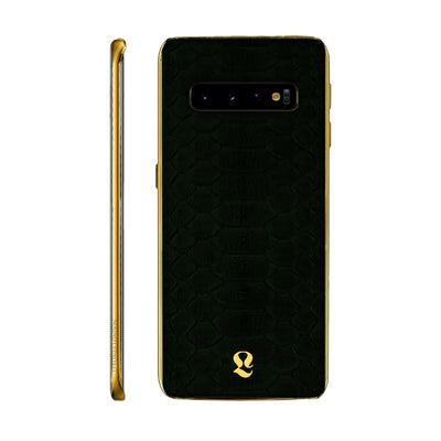 24k Gold Exotic Dark Green Python Skin Samsung S10 and S10 Plus