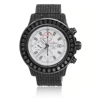 Leronza Breitling 1884 Chronometre Certifie Automatic Stainless Steel 17ct Black Diamond Watch