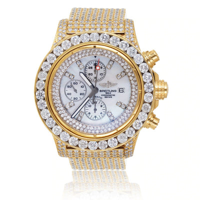 Leronza Breitling 1884 Chronometre Automatic Stainless Steel Gold Plated 15ct Diamond Watch