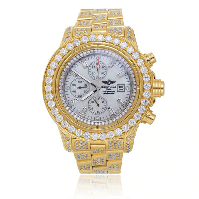 Leronza Breitling 1884 Chronometre Automatic Gold Plated Stainless Steel 15ct Diamond Watch