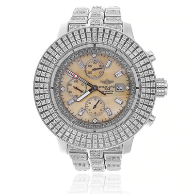 Leronza Breitling 1884 Chronometre Automatic Stainless Steel 7.5ct Diamond Watch