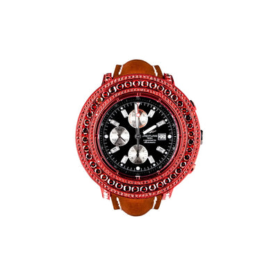 Leronza Breitling Super Avenger Red PVD Stainless Steel 13ct Red Diamond Watch