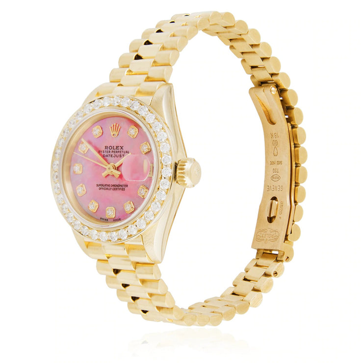 Leronza Rolex Lady-DateJust 18k Yellow Gold President 2.7ct Diamond Automatic Watch