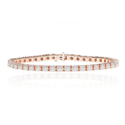 Leronza 14k Rose Gold Diamond Tennis Bracelet 3.38ct Men's Jewelry