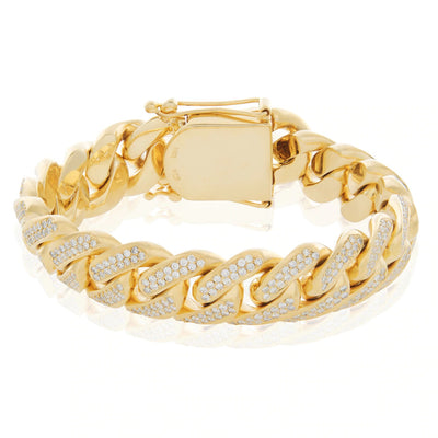 Leronza 10K Yellow Gold 9.25ct Diamond Cuban Link Bracelet